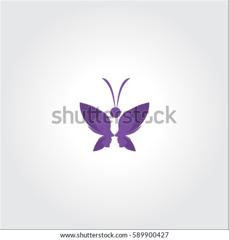 grape butterfly logo beauty and