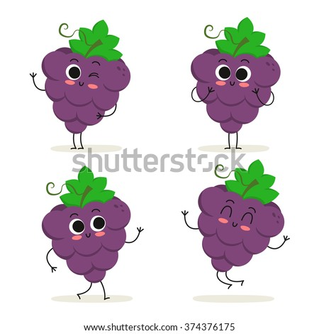 grape cute fruit vector