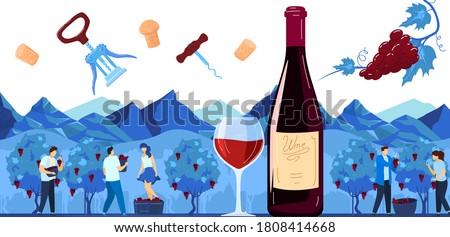 Grape harvest, wine production vector illustration. Cartoon flat winemaker characters harvesting, making alcohol drink red wine product, using traditional winemaking process in vineyard background Foto stock ©