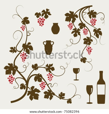 Grape vines, wineglasses and decorative elements set. Vector illustration.