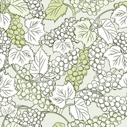 Grapes background. Seamless pattern of grapes. Bunch of grapes with leaves. A good harvest.