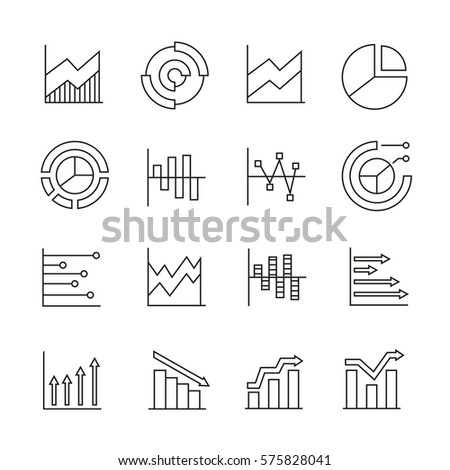 graph and chart icons in thin line style