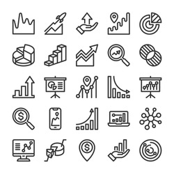 Graph and Diagram icons set. Analytics and SEO symbols. Line style