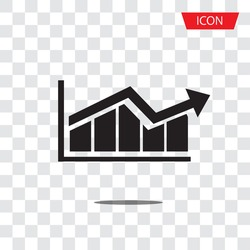 Graph bar graph vector icon,growing graph vector icon isolated on transparent background.