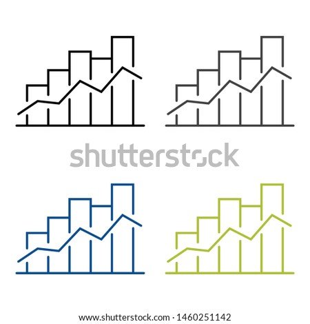 Graph bar graph vector icon,growing graph vector icon isolated on white background.