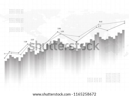 Graph chart data background. Finance concept, gray vector pattern. Stock market report statistics design.