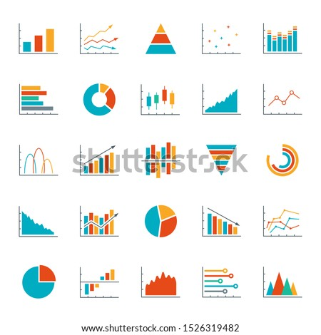 Graph, chart, diagram icon set. Business data design elements for web, report, presentation, finance analysis. Vector illustration.