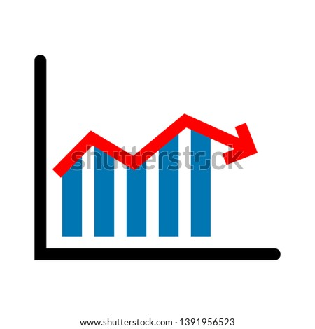 graph chart icon. Flat chart, graph. Simply color editable. Infographics elements