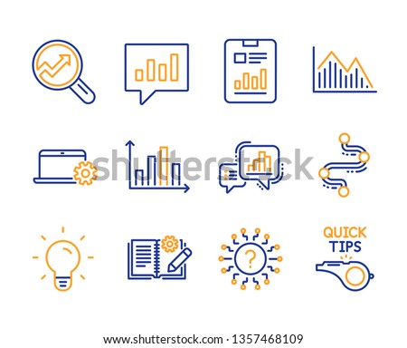 Graph chart, Light bulb and Notebook service icons simple set. Analytics, Engineering documentation and Analytical chat signs. Investment graph, Question mark and Timeline symbols. Vector