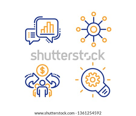 Graph chart, Multichannel and Sharing economy icons simple set. Cogwheel sign. Growth report, Multitasking, Share. Idea bulb. Science set. Linear graph chart icon. Colorful design set. Vector