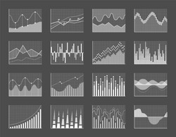 Graph collection poster with diagrams and graphs, falling and rising business data financial charts, vector illustration isolated on grey background