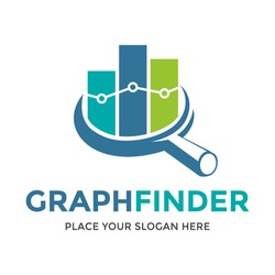 Graph Finder vector logo template. This design use magnifying glass symbol. Suitable for analysis, evaluate, business.