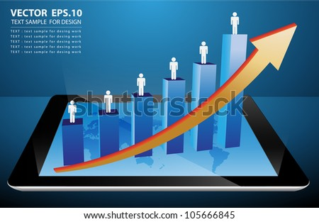graph growth business concept on tablet PC. Vector illustration