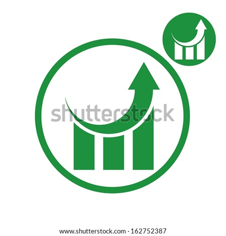Graph growth graphics vector simple single color icon isolated on white background, includes invert version for you to choose.