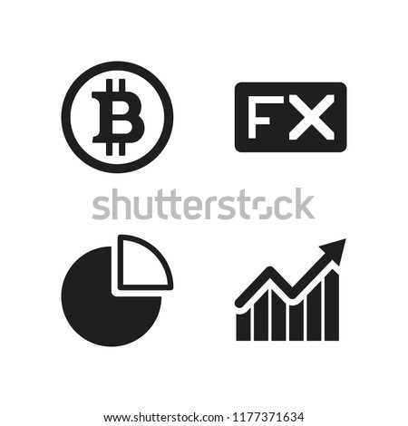 graph icon. 4 graph vector icons set. quarter pie chart, bars graphic with ascendant arrow and fx icons for web and design about graph theme