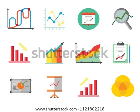 Graph Icon Set. Magnifier And Graph Growing Bar Chart Declining Bar Chart Venn Diagram Clipboard Flipchart With Graph Smart Board Histogram Line Graph Computer With Histogram Projection Screen Chart