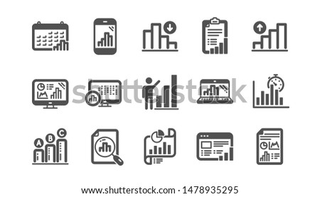 Graph icons. Charts and graphs, Presentation and Report. Analytics classic icon set. Quality set. Vector