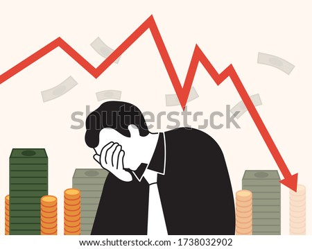 Graph of stock price drop. And a sad man who failed. Business and stock investment concept illustration. ストックフォト ©