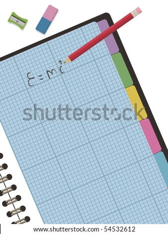 Graph Paper Notebook With Clipping Mask With Pencil And