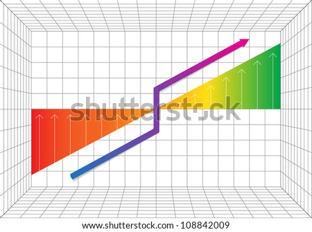 Graph showing business progress on grid background, Vector Illustration