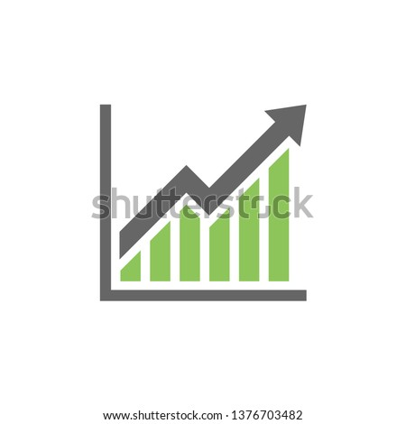 Graph trending upwards, Arrow pointing up on graph, Vector illustration