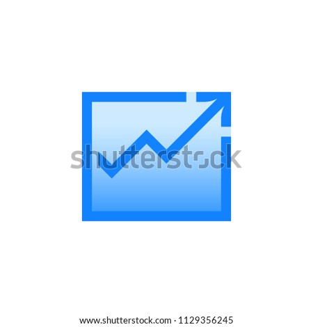 Graph vector pictogram. Blue line icon with gradient fill of set Simple Line Filled