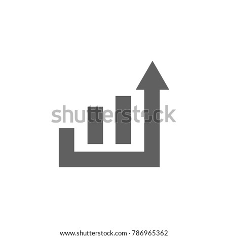 Graph with arrow icon vector