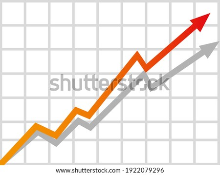 Graph with increase report. Diagram with rise and gain progress. Vector illustration Stock photo ©