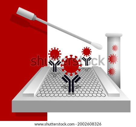 Graphene-based electrochemical sensor using for rapid detecting COVID-19 in less than five minutes. Vector illustration Foto stock ©