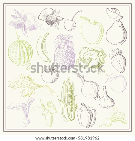 Graphic abstract decorative illustrations of fruits, berries and vegetables. Suitable for invitation, flyer, sticker, poster, banner, card,label, cover, web. Vector illustration. #581981962