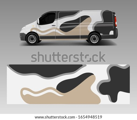 Graphic abstract wave designs for wrap vehicle, race car, branding car. Pick up truck and cargo van car wrap design vector. stock photo
