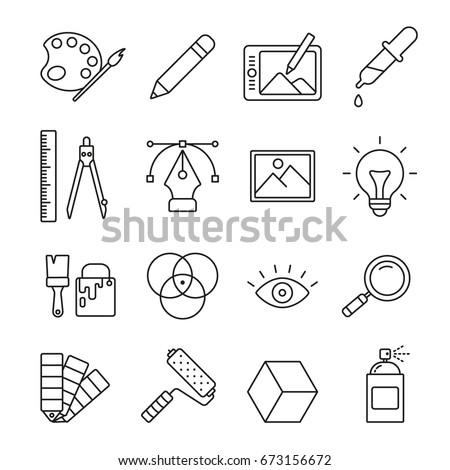 Graphic and web design: thin monochrome icon set, black and white kit