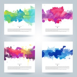 graphic background color poster brush watercolor vector shape kid abstract set of bright colorful vector watercolor background useful for any project where a platter of color makes the difference grap