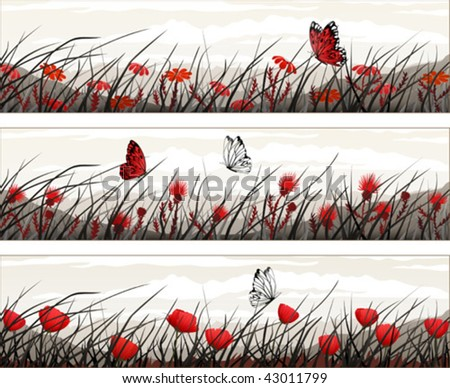 Graphic banners with wild flowers and butterflies (other landscapes are in my gallery)