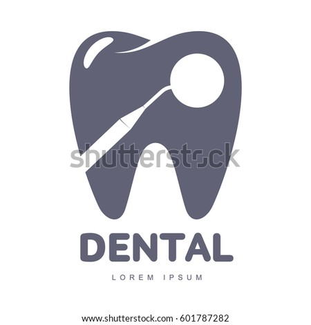 Graphic, black and white tooth, dental care logo template with mirror silhouette over tooth shape, vector illustration isolated on white background.
