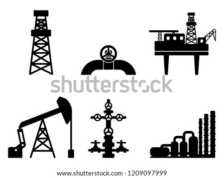 Graphic black flat set of oil and gas vector icons for petroleum industry: drilling, extraction and processing of oil and gas; onshore and offshore signs; EPS 10 Foto stock ©