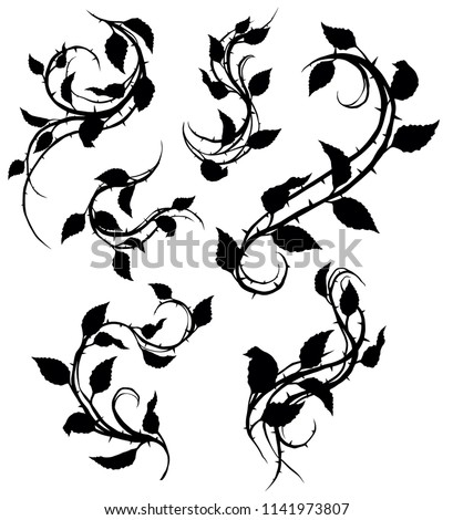 graphic black silhouette floral