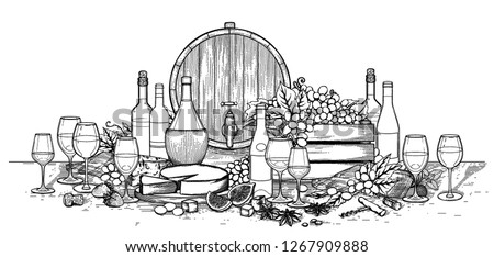 Graphic bottles and glasses of wine decorated with barrels, box, cheese, grapes, figs, star anise and cork on the wooden board. Vector illustration isolated on white background