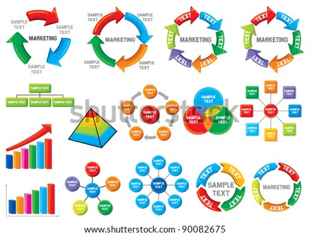 Graphic business process diagram collection (bar graph, circle chart)