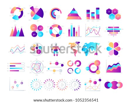 Graphic chart. Business data chart, graph, bar and vector diagram. Infographic element with financial statistic chart with flat graphic pie, growth circle, progress line. Business graphic template