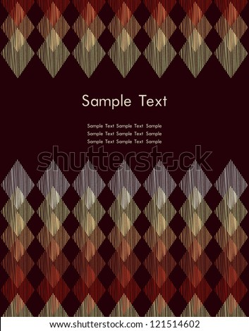 Graphic colorful text background. Template for design with place for your text with linear rhomb pattern