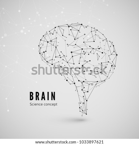 Graphic concept of the brain. Technology and science background. Brain is composed of points, lines and triangles. Vector illustration