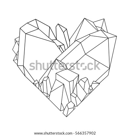 Graphic crystals in the shape of heart drawn in line art style. Vector Valentine day card. Coloring book page design for adults and kids