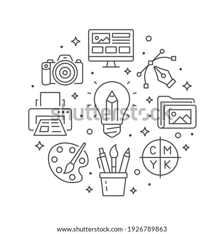 Graphic design circle poster with line icons. Vector illustration included icon as bulp, pencil, paintbrush, palette, cmyk, photo camera outline pictogram for typography flyer or brochure.