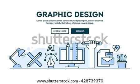 Graphic design, concept header, flat design thin line style, vector illustration
