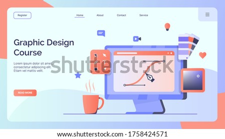 Graphic design course campaign for web website home homepage landing template banner modern flat style vector illustration
