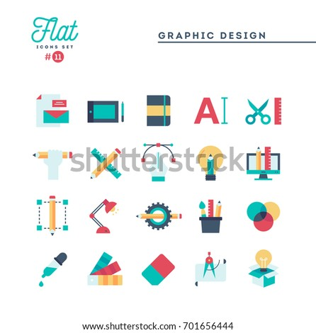 Graphic design, creative package, stationary, software and more, flat icons set, vector illustration