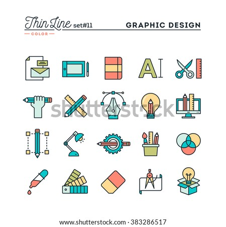 Graphic design, creative package, stationary, software and more, thin line color icons set, vector illustration