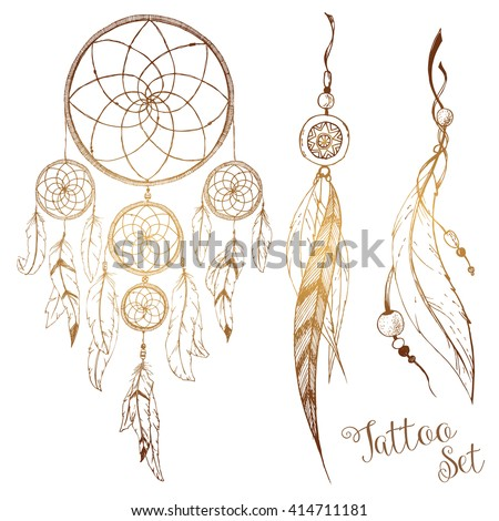 Graphic Design Dream Catcher Feathers Boho Style Tattoo Drawing And Beads