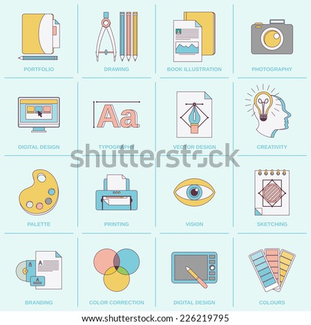 graphic design flat line icons